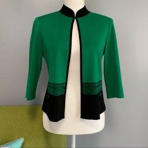 Ming Wang Green Black Knit Jacket NWT